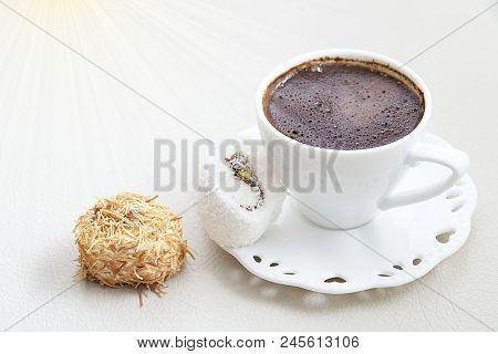 Turkish Coffee With Milk Cream Chocolate Pistachio Turkish Delight And Shredded Dough Baked In Syrup