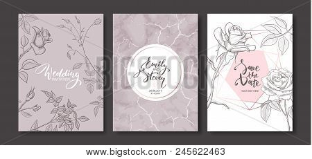 Wedding Invitation Cards With Marble Texture And Hand Drawn Roses.floral Poster, Invite. Vector Deco