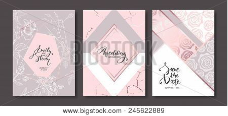 Wedding Invitation Cards With Hand Drawn Rosesfloral Poster, Invite. Vector Decorative Greeting Card