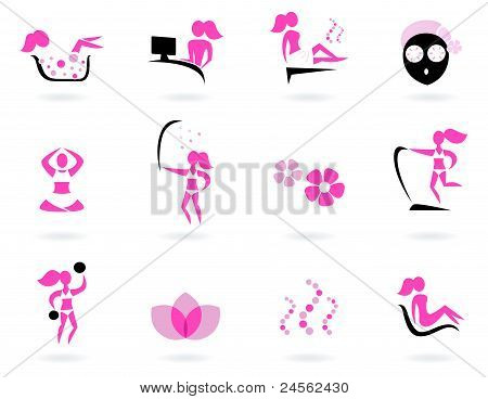 Spa, Wellness & Sport Icons Isolated On White ( Pink, Black )..