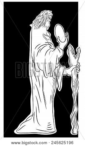 Old Wizard Immigrant.  Old Immigrant Looking At An Egg. Fantasy Drawing Illustration. Illustration O