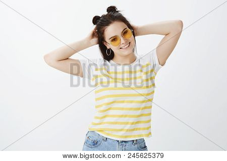 Time To Have Some Fun. Carefree Confident And Relaxed Stylish Feminine Woman In Sunglasses And Strip