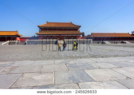 Beijing, China - March 11, 2016: Forbidden City.  People Visit The Forbidden City, It Was The Chines