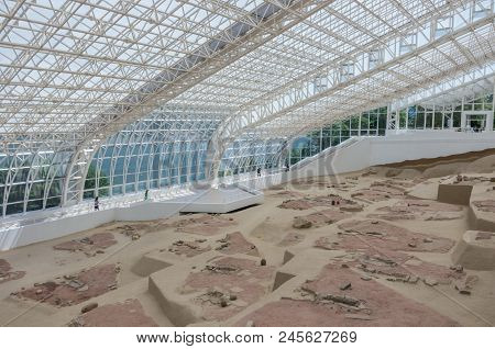 Lepenski Vir, Serbia - May 2, 2018: Mesolithic Archaeological Site Lepen Whirl, Between 9500/7200-60