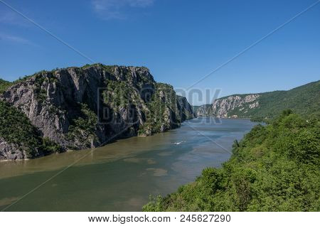 Danube Border Between Romania And Serbia. Landscape In The Danube Gorges.the Narrowest Part Of The G