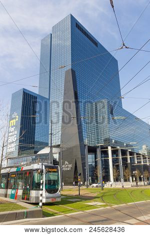 Rotterdam, The Netherlands - April 7 2018; Modern Tall Buildings In Centre Of The City With Ret Tram