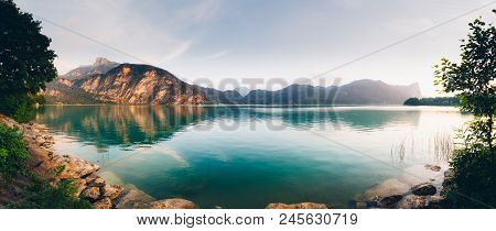 Panoramic View Of The Beautiful Natural Lake Mondsee In The Salzkammergut During Summer Time. Austri