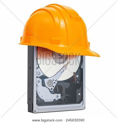 Hard Disk Drive Hdd With Hard Hat , Protection Concept. 3d Rendering Isolated On White Background