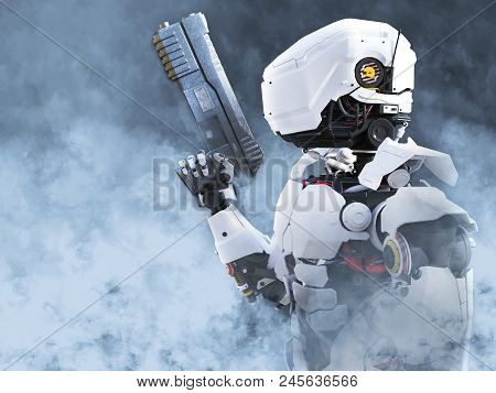 3d Rendering Of A Futuristic Robot Police Or Soldier Holding A Gun Surrounded By Smoke.
