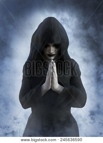 3D Rendering Of A Ghost Nun Praying.