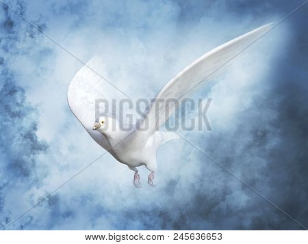 3d Rendering Of A White Peace Dove Or Pigeon Flying In Heaven With Clouds Around It.