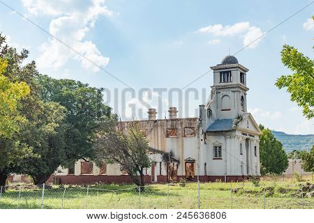 Wepener, South Africa - April 1, 2018: The Ruin Of The Burned Down Town Hall In Wepener In The Free
