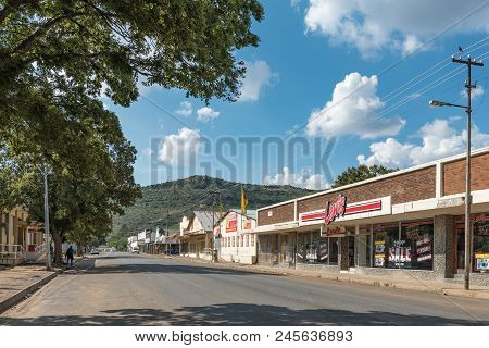 Wepener, South Africa - April 1, 2018: A Street Scene, With Businesses, In Wepener In The Free State