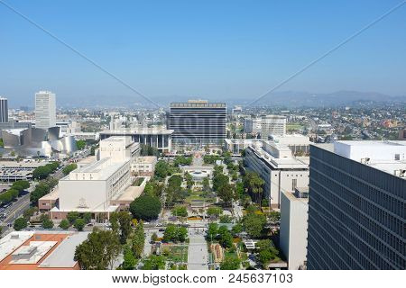 Los Angeles, California - June 12, 2018: Downtown Los Angeles Seen From City Hall. Showing: Disney H