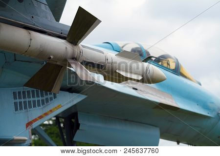 The Russian Military Aircraft With Outboard Missiles Is Ready For Combat Sorties.