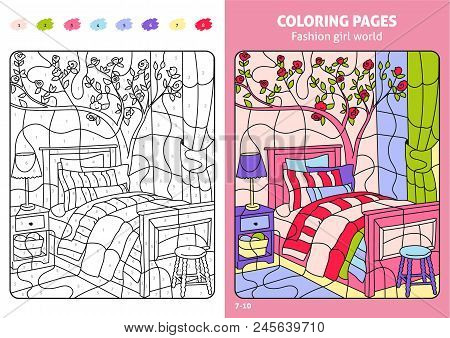 Fashion Girl World Coloring Pages For Kids, Room. Printable Design Coloring Book. Coloring Puzzle Wi