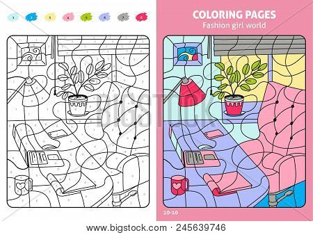 Fashion Girl World Coloring Pages For Kids, Workplace. Coloring Puzzle With Numbers Of Color. Black