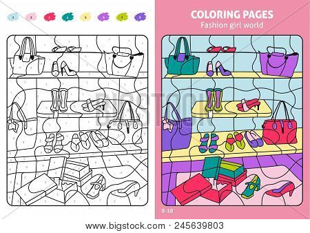 Fashion Girl World Coloring Page For Kids, Shoes. Printable Design Coloring Book. Coloring Puzzle Wi