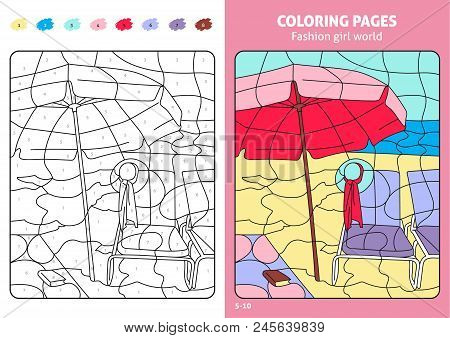 Fashion Girl World Coloring Pages For Kids, Beach. Printable Design Coloring Book. Coloring Puzzle W