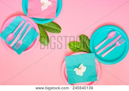 A Picnic Set With Contrast Pink And Cyan Colours Paper Plates, Napkins, Pink Plastic Cutlery And Coc