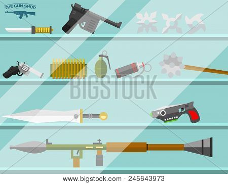 Weapon Storefront Banner Choosing Gun And Shooting At Charges Vector Illustration. Revolver Decorati