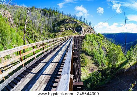 Historic Trestle Bridge At Myra Canyon In Kelowna, Canada