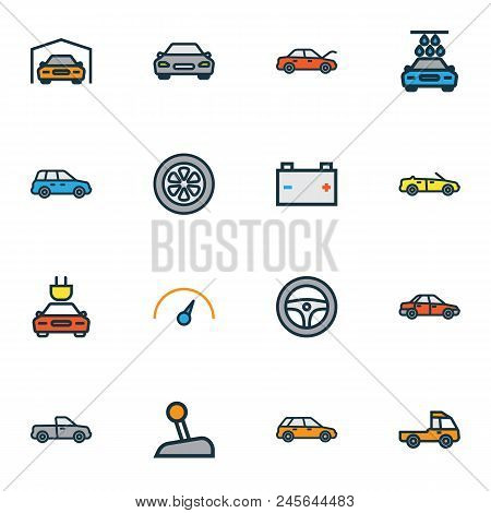 Automobile Icons Colored Line Set With Cabriolet, Speedometer, Gear And Other Rudder Elements. Isola