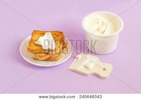 Breakfast Of Cream Cheese With Toast. Rubber Spatula As Table Knife. Minimal Style. Creative Idea, I