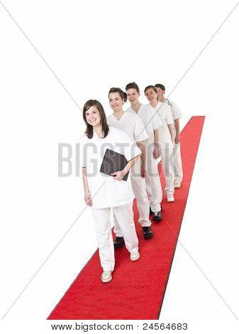 Medical Team On A Red Carpet