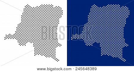 Pixel Democratic Republic Of The Congo Map. Vector Geographic Map On White And Blue Backgrounds. Vec