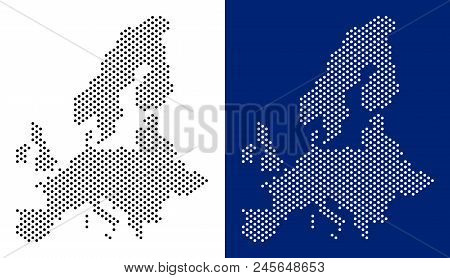 Dot European Union Map. Vector Geographic Map On White And Blue Backgrounds. Vector Composition Of E