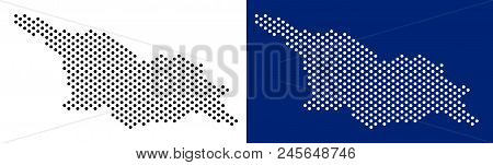Dot Georgia Map. Vector Geographic Map On White And Blue Backgrounds. Vector Mosaic Of Georgia Map C