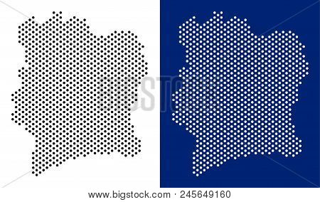 Dotted Ivory Coast Map. Vector Geographic Map On White And Blue Backgrounds. Vector Mosaic Of Ivory