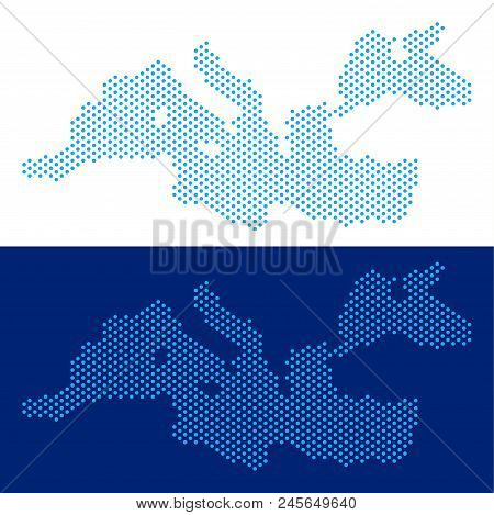 Dot Mediterranean Sea Map. Vector Geographic Map On White And Blue Backgrounds. Vector Concept Of Me