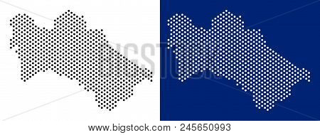 Pixel Turkmenistan Map. Vector Geographic Map On White And Blue Backgrounds. Vector Collage Of Turkm