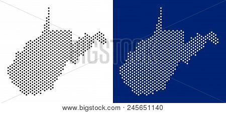Pixel West Virginia State Map. Vector Geographic Map On White And Blue Backgrounds. Vector Mosaic Of