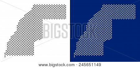 Pixel Western Sahara Map. Vector Geographic Map On White And Blue Backgrounds. Vector Collage Of Wes