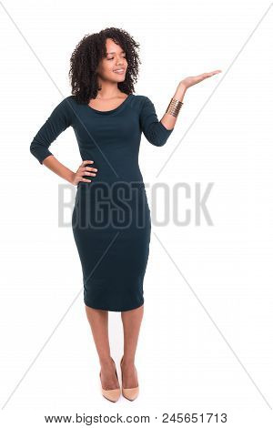 Beautiful Woman Presenting Your Product Isolated Over A White Background