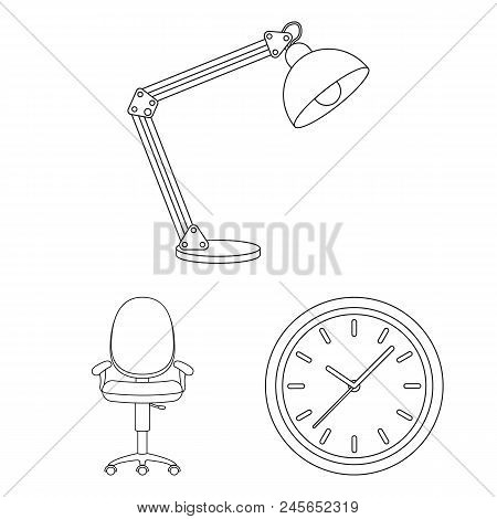 Interior Of The Workplace Outline Icons In Set Collection For Design. Office Furniture Vector Symbol