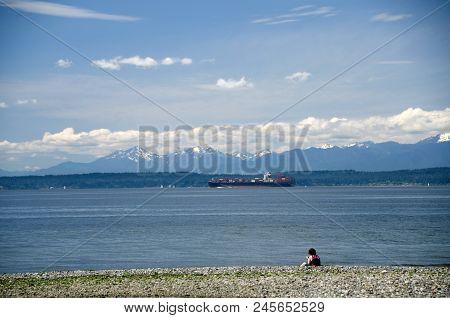 Beachgoer Watches Freighter At Puget Sound Near Shoreline