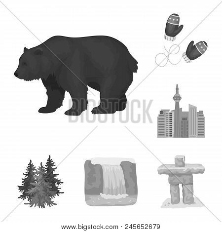 Country Canada Monochrome Icons In Set Collection For Design. Canada And Landmark Vector Symbol Stoc