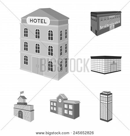 Building And Architecture Monochrome Icons In Set Collection For Design.the Building And Dwelling Ve