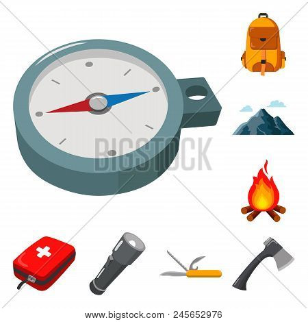 Rest In The Camping Cartoon Icons In Set Collection For Design. Camping And Equipment Vector Symbol