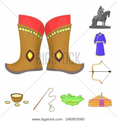 Country Mongolia Cartoon Icons In Set Collection For Design.territory And Landmark Vector Symbol Sto