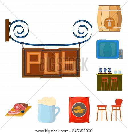 Pub, Interior And Equipment Cartoon Icons In Set Collection For Design. Alcohol And Food Vector Symb