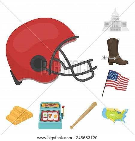 Usa Country Cartoon Icons In Set Collection For Design.travel And Attractions Vector Symbol Stock  I