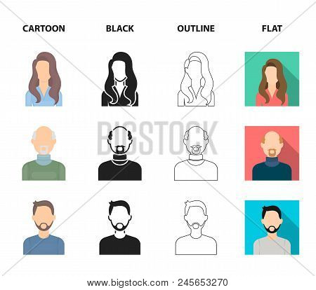 Boy Blond, Bald Man, Girl With Tails, Woman.avatar Set Collection Icons In Cartoon, Black, Outline,