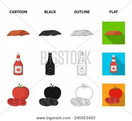 Burger And Ingredients Cartoon, Black, Outline, Flat Icons In Set Collection For Design. Burger Cook