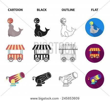 Lollipop, Trained Seal, Snack On Wheels, Monocycle.circus Set Collection Icons In Cartoon, Black, Ou
