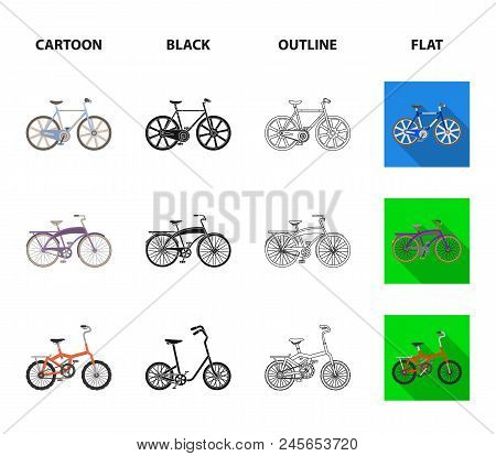Children's Bicycle And Other Kinds.different Bicycles Set Collection Icons In Cartoon,black,outline,
